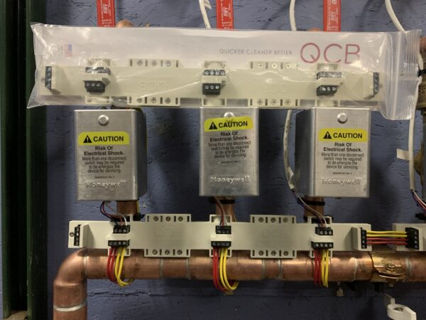 QCB valve control in package on top of heating element